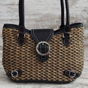 ⚃Brighton Tan & Black Woven Bag